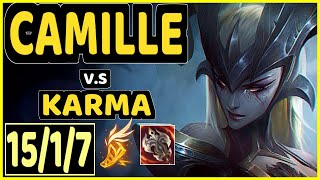 VROW (CAMILLE) vs KARMA - 15/1/7 KDA TOP CHALLENGER GAMEPLAY - EUW