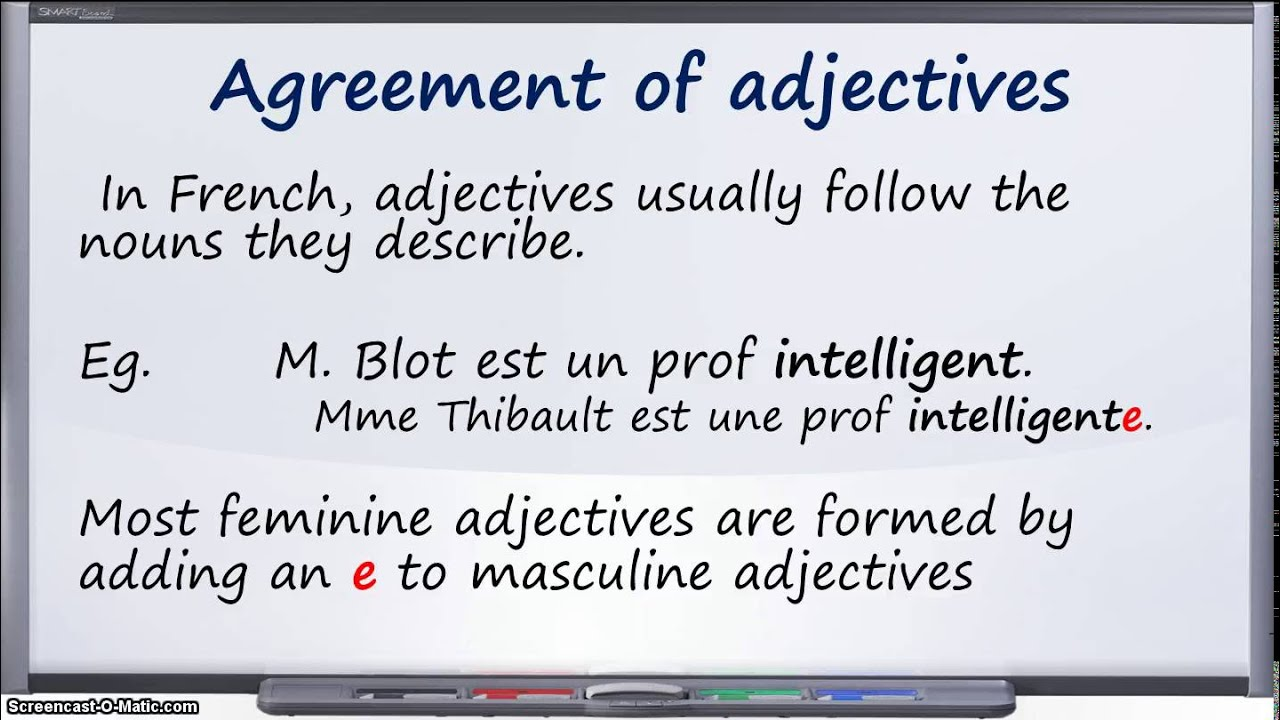 Agreement Of Adjectives In French Youtube