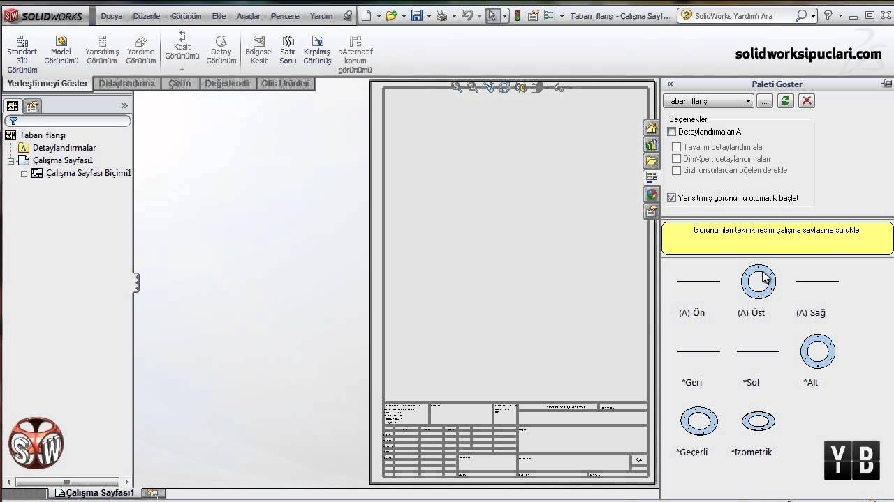 Solidworks Antet Düzenleme-Antet Linkleme