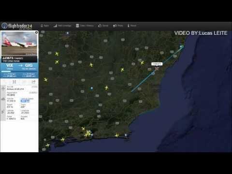 """Aviao da TAM voando """"baixo"""" devido turbulencia voo VIX-GIG RJ.(RADAR e FONIA)."""