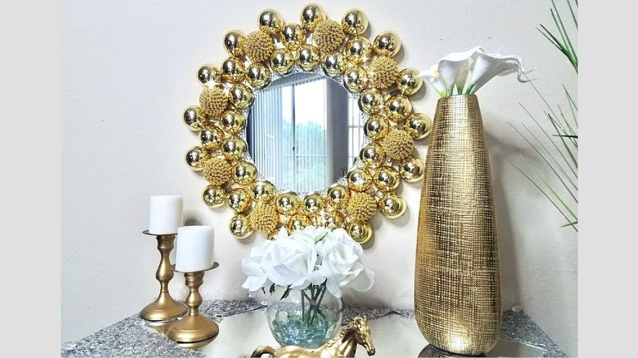 Diy Embellished Golden Wall Mirror