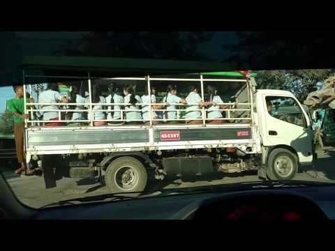 Morning Drive to School in Yangon, Myanmar