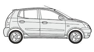 How to Draw a Kia Picanto / Как нарисовать Kia Picanto