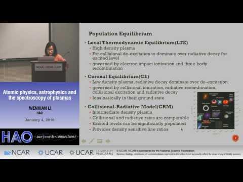 Wenxian Li | NCAR HAO | Atomic physics, astrophysics and the spectroscopy of plasmas