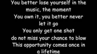 Repeat youtube video Eminem Loose Yourself With Lyrics