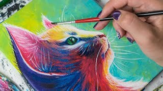 The Colorfull Sweet Cat  Acrylic painting  Homemade Illustration (4k)