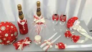 Свадебные бокалы и шампанское, свечи для молодоженов, подвязка невесты