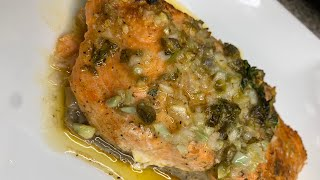 Baked Salmon in a lemon, garlic & capers butter sauce