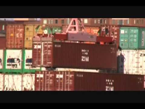 Crane Loading Cargo onto Barge at Portland Harbor