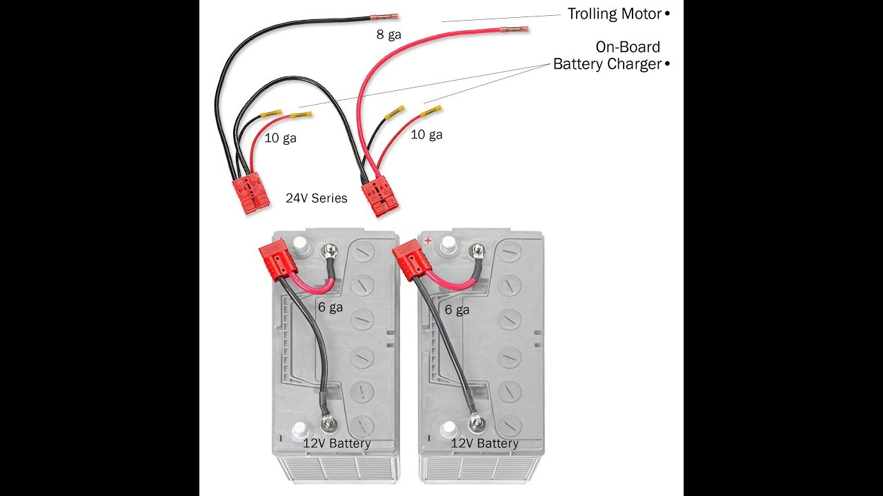 How To Connect Your 24 Volt Trolling Motor With An Onboard Charging Minn Kota 36 Battery Wiring Diagram System