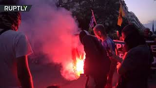 Greek protesters burn Turkish flags decrying Hagia Sophia's reconversion to mosque