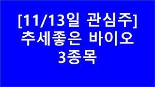 [주식투자]11/13일 관심주(추세좋은 바이오 3종목)