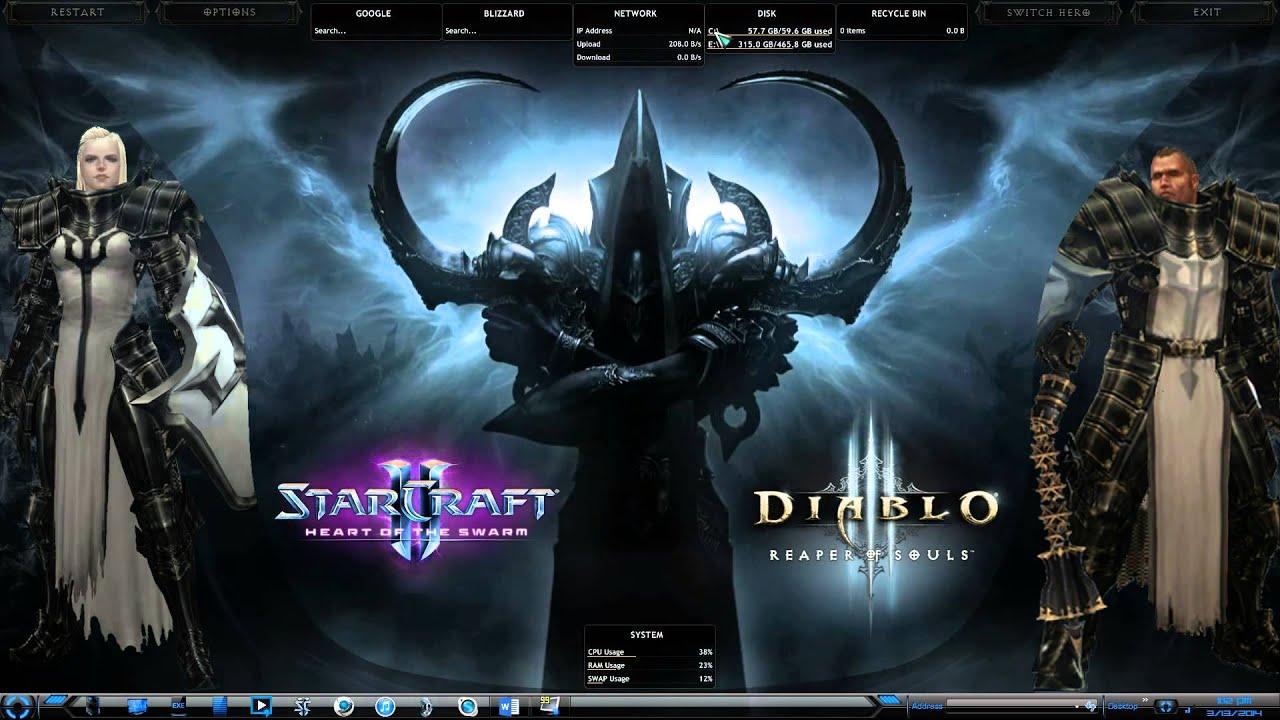 Diablo 3 Reaper Of Souls Desktop Theme Dreamscene Rainmeter Glass HUD Animated Moving Background