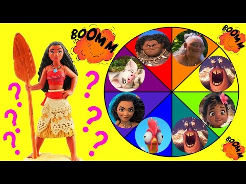 Moana Toys Spin the Wheel Game! Moana Baby Moana Maui Pua Lava Monster & Tamatoa Disney Movie Dolls!
