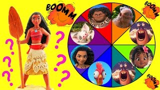 Moana Toys Spin the Wheel Game w Moana, Baby Moana, Maui, Pua, Lava Monster & Tamatoa Disney Dolls!