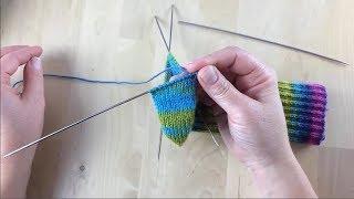 Как связать носки  Простая квадратная пятка Урок 3