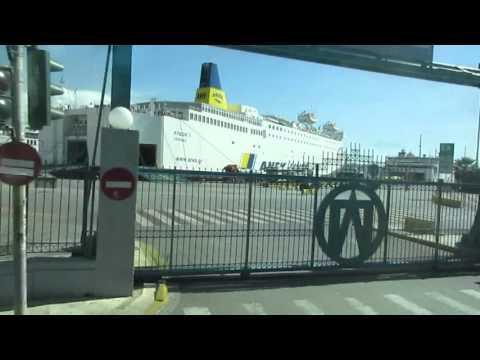 Tour bus going to Piraeus, Greece 2015