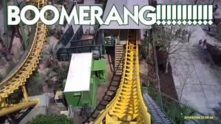 Boomerang roller coaster at Wild Adventures in Valdosta, GA front seat pov