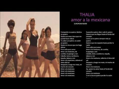 thalia amor a la mexicana european remix  + lyrics