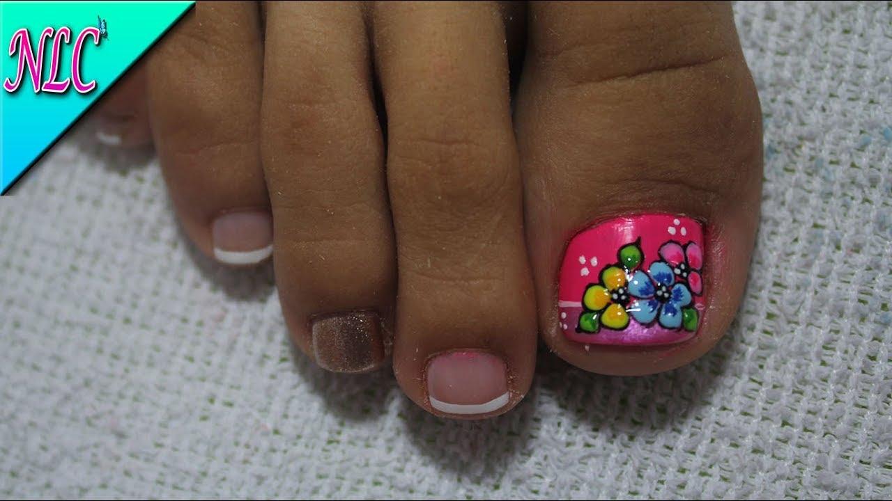 Decoracion De Unas Para Pies Flores Flowers Nail Art Como