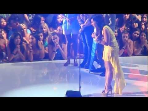 Demi Lovato accepting her award at the TCA's