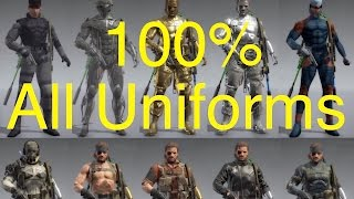 MGSV Phantom Pain - All Snake Uniforms 100 Complete Metal Gear Solid 5