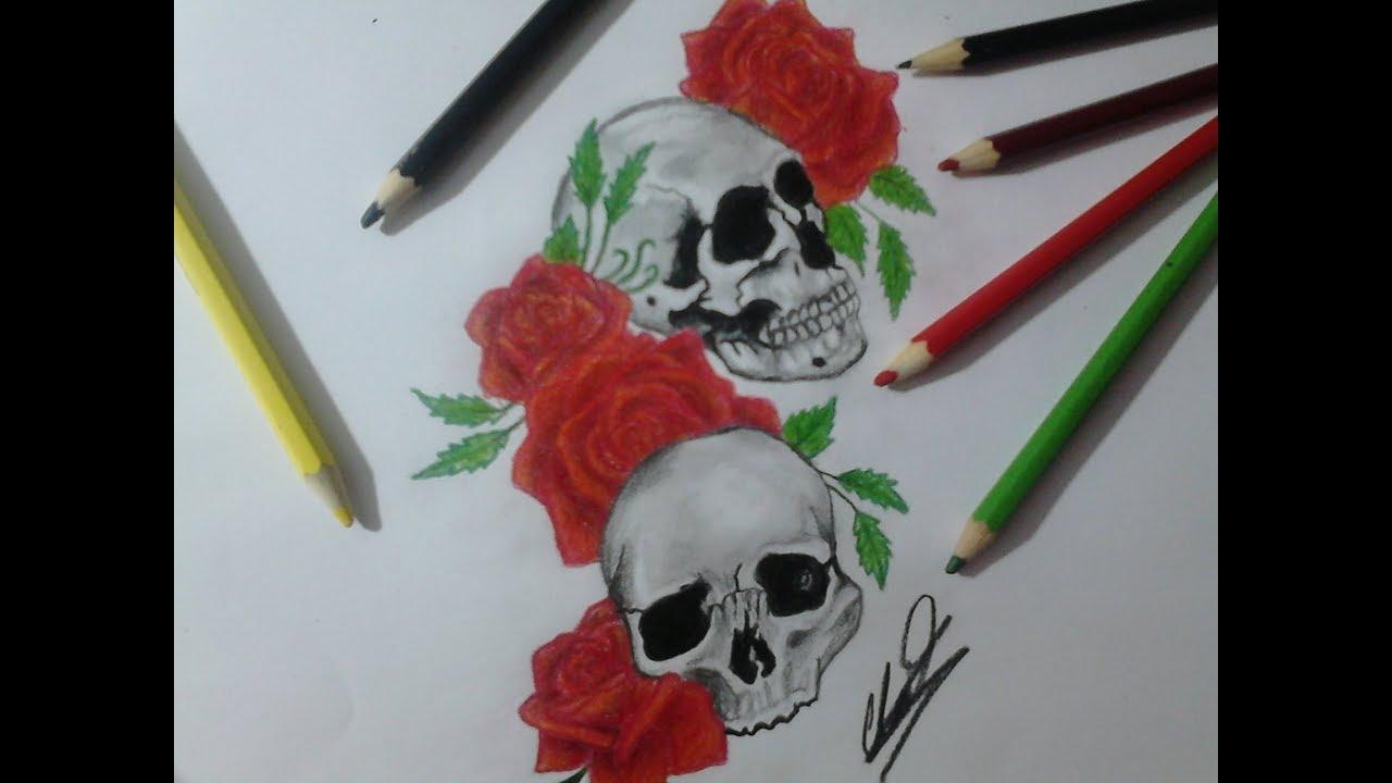 Desenhando Uma Caveira Com Rosas Drawing A Skull With Roses