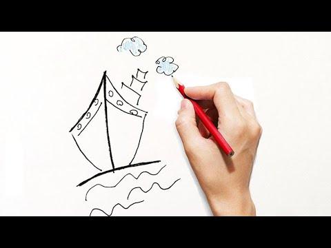 Come Disegnare Una Barca Per Bambini Partendo Dal Numero 1 Youtube