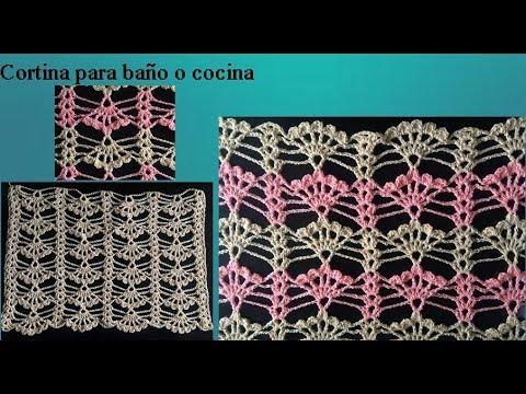 Cortina a crochet para cocina o ba o youtube for Cortinas de gancho para cocina