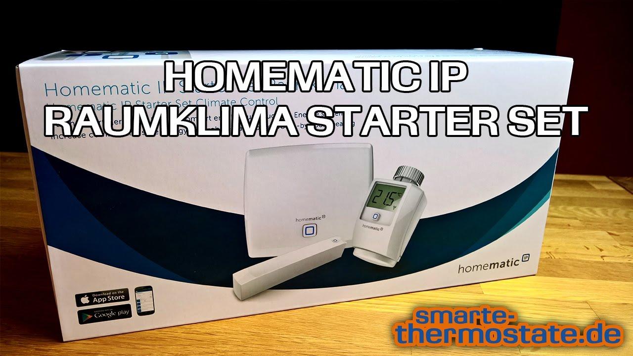 smart home thermostat homematic ip raumklima starter set im test heizungsthermostat youtube. Black Bedroom Furniture Sets. Home Design Ideas