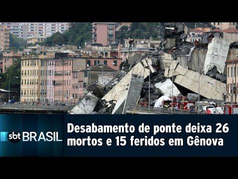 Desabamento de ponte deixa 26 mortos e 15 feridos em Gênova | SBT Brasil (14/08/18)