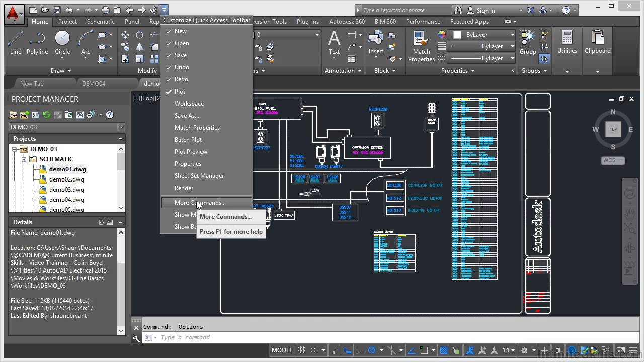 Autocad Electrical 2015 Tutorial Quick Access Toolbar