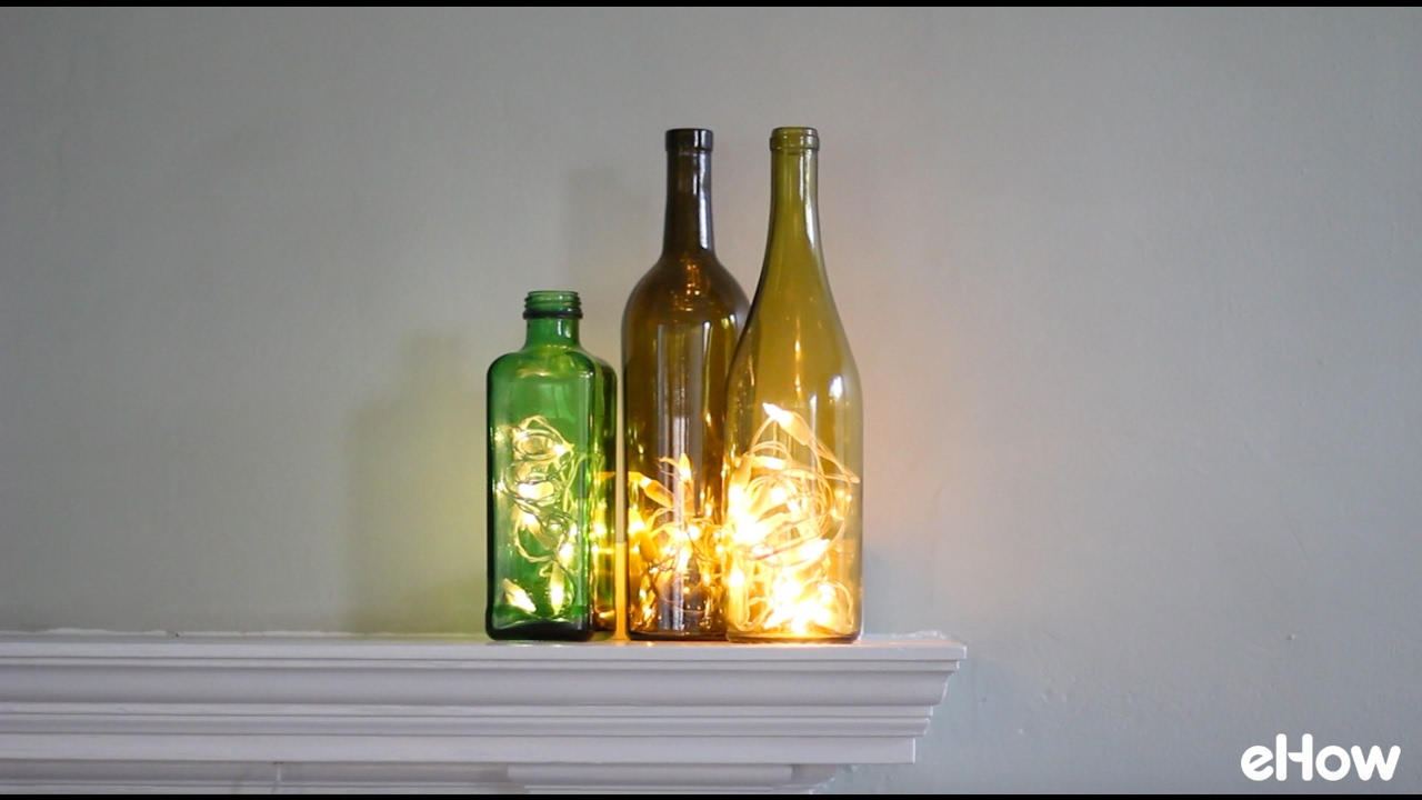 Christmas Lights Wine Bottle