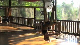 Sofiah from Bamboo Yoga Play performs yoga swing routine - mesmerising!