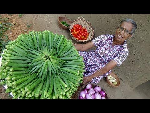 Okra Masala Curry ❤ Healthy Village Food By Grandma | Village Life