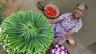 Okra Masala Curry ❤ Healthy Village Food by Grandma   Village Life
