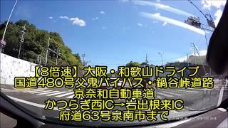 【8倍速】大阪・和歌山ドライブ 父鬼バイパス・鍋谷峠道路・平道路・京奈和自動車道・府道63号泉佐野岩出線
