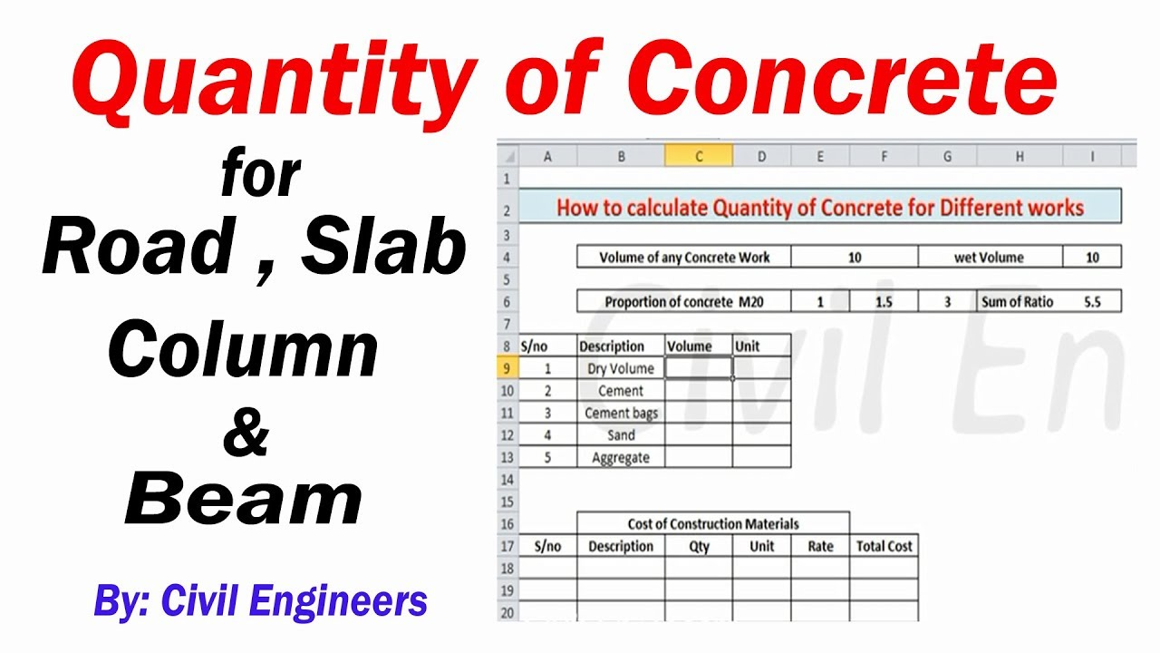 How to calculate Concrete Quantity in slab Beam Column and road