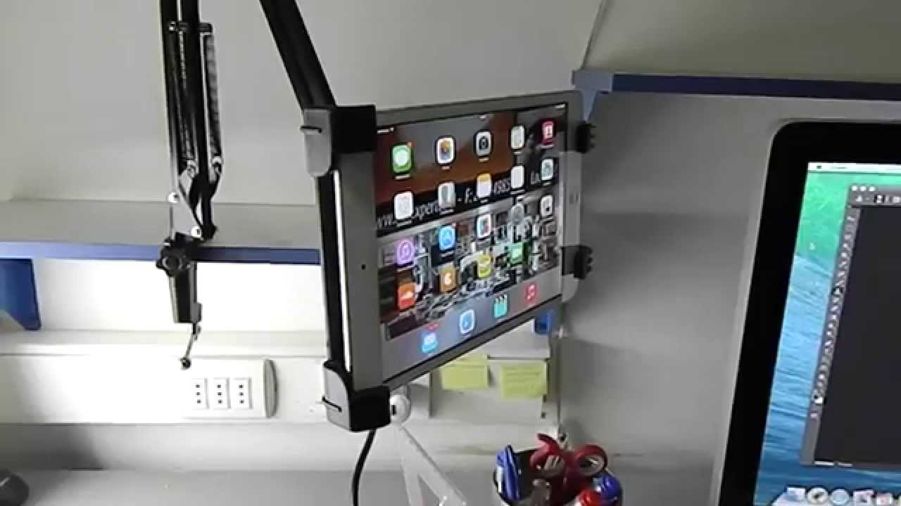 Soporte tablet ipad para cama y escritorio youtube for Soporte tablet pared