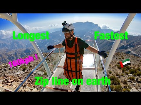 Flying world's longest, fastest zip line in Ras al Khaimah, UAE
