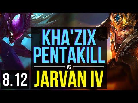 KHA'ZIX vs JARVAN IV (JUNGLE) ~ Pentakill, Quadrakill, Legendary ~ NA Master ~ Patch 8.12