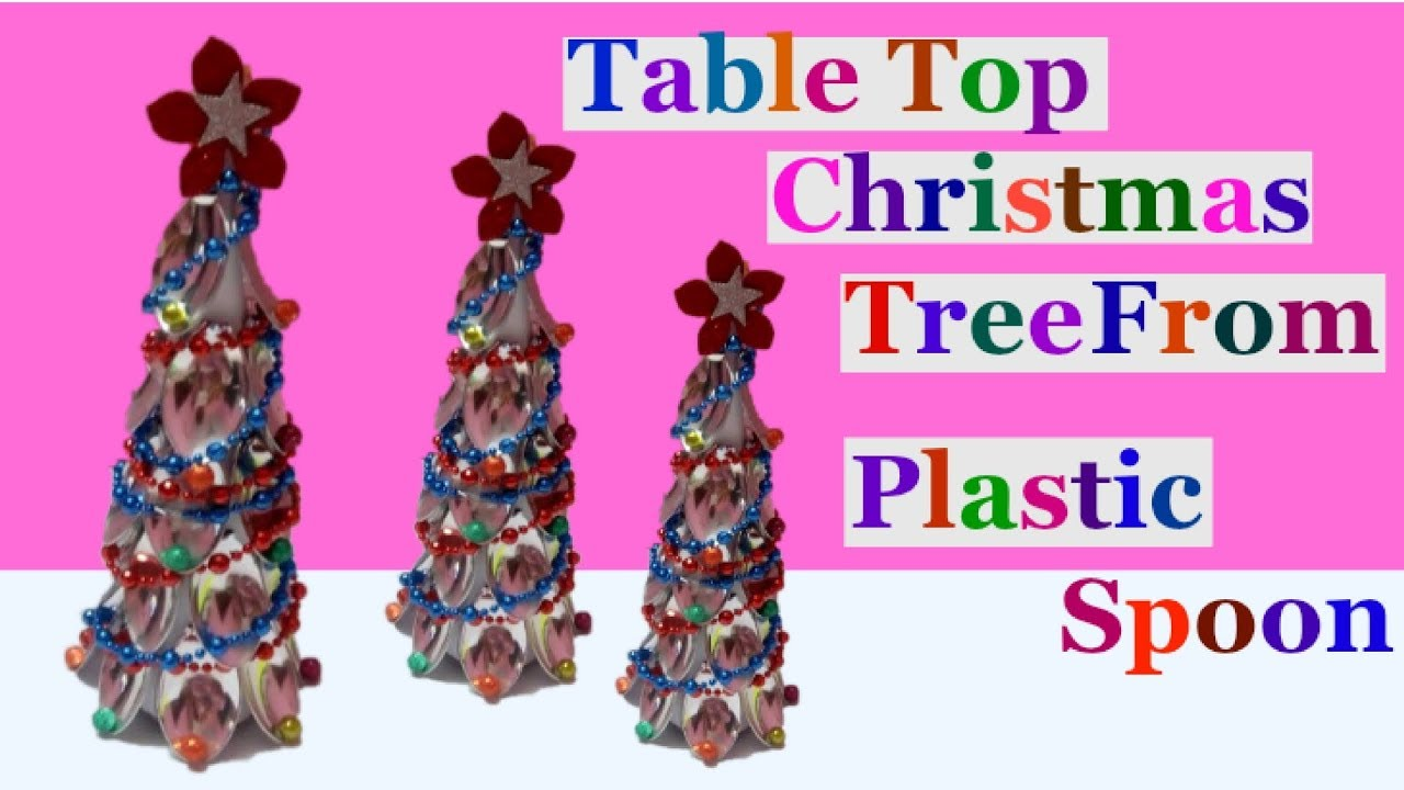 how to make tabletop christmas tree from plastic spoonchristmas decoration idea easy crafts ideas