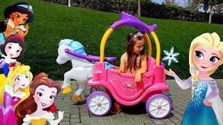 Princess carriage ride on toy Pretend play and Unbox surprises with Yulya