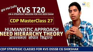 KVS T20 CDP MasterClass 27 - Need Hierarchy Theory - Abhram Maslow - Humanistic Approach Mentors 36
