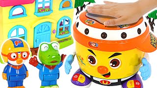 There's a song coming out of the drum! Let's Dance with Pororo and Friends! | PinkyPopToy