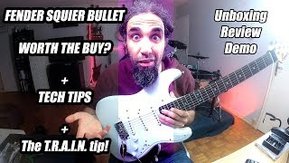Fender Squier Bullet Strat IL AW 2019. Unboxing, review, tech tips, demo.