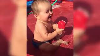 Dog And Baby Take A Swim Very Funny Time   Funny Baby Video