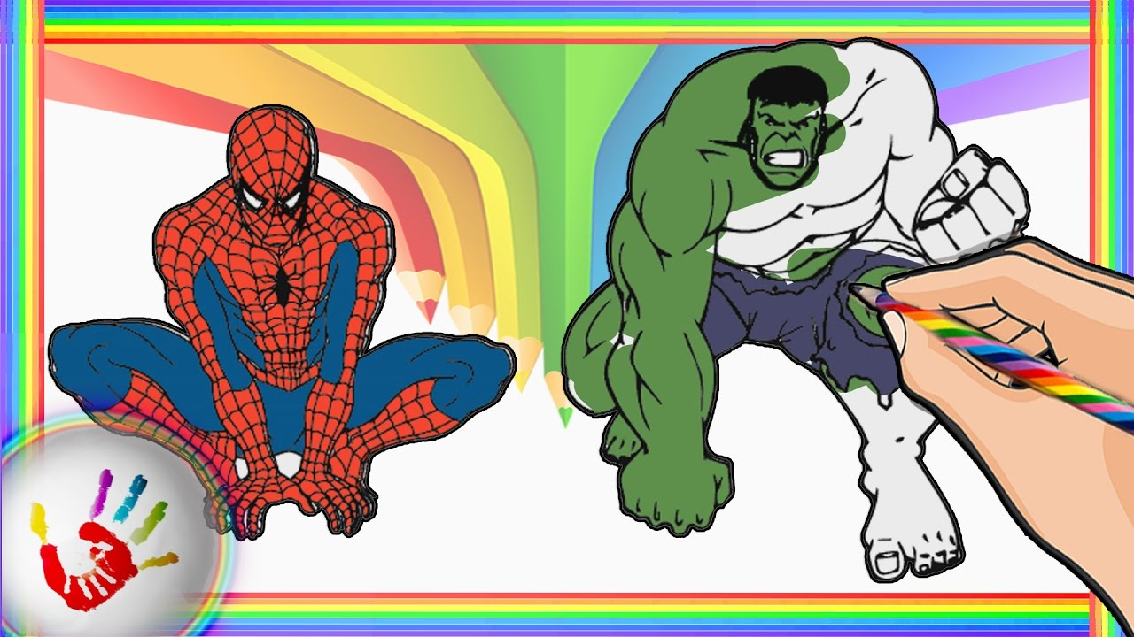 Spiderman and Hulk Coloring Pages For Kids. How to color Spiderman ...