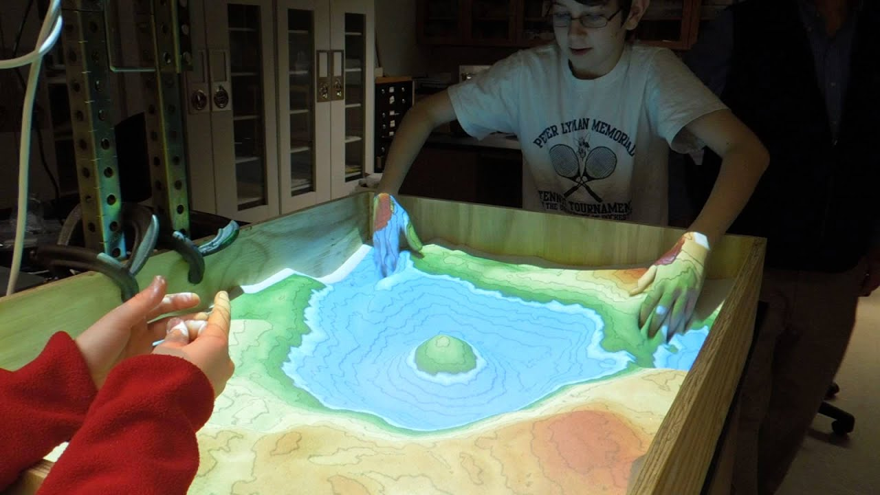 Augmented Reality Sandbox Realtime Topographic Contour Line - Interactive topo map