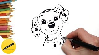 How to Draw a Puppy from 101 Dalmatians Step by Step - Drawing for Kids